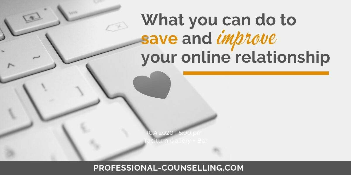Photo: keyboard with heart on the enter key. Text: What you can do to save and improve your online relationship.