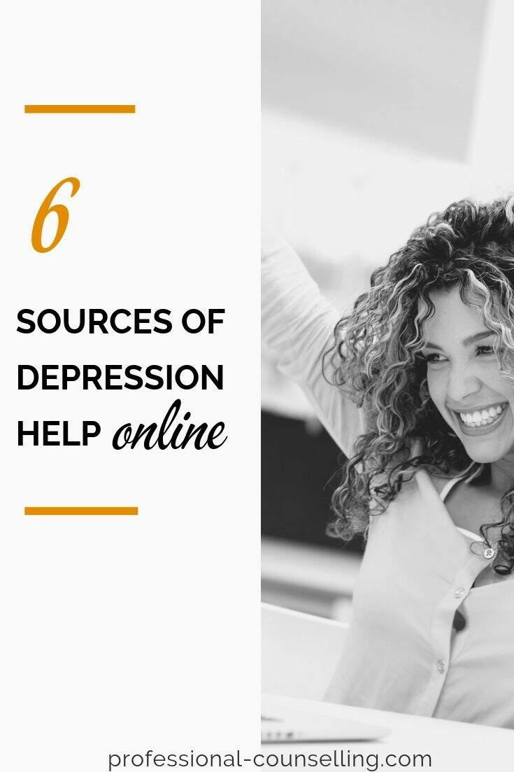 Photo: Jubilant woman. TExt: 6 sources of depression help online