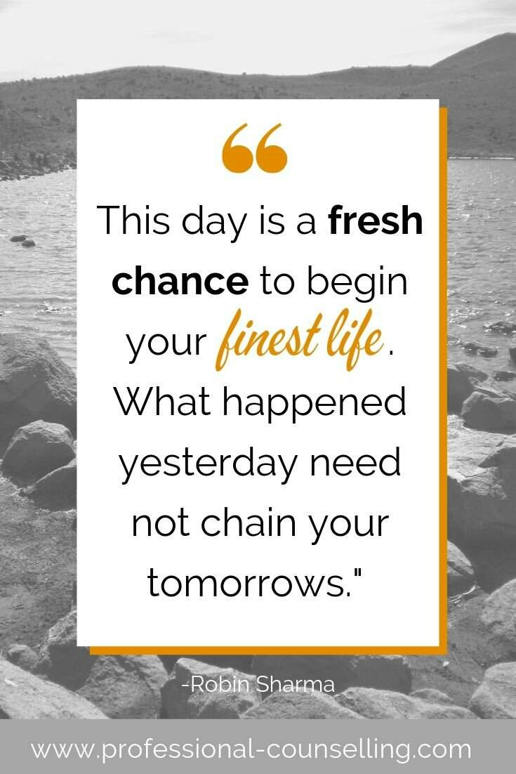 Photo: lake, early in the morning. Text: 'This day is a fresh chance to begin your finest life. What happened yesterday need not chain your tomorrows.' -Robert Sharma