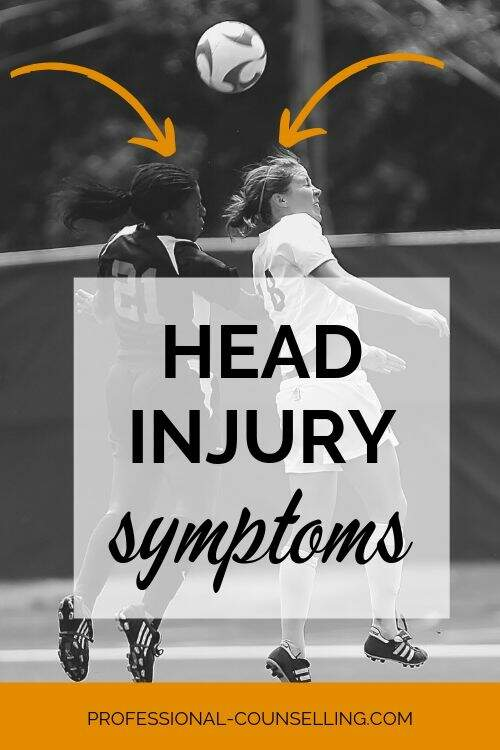 Photo: Two women playing soccer, heading the ball. Text: Head Injury symptoms