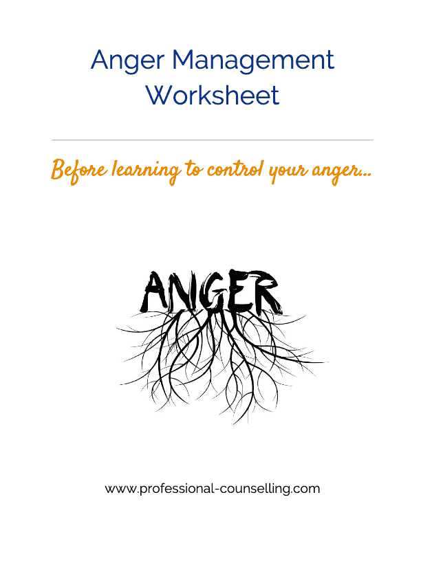 Anger management worksheet front cover: How to control your anger