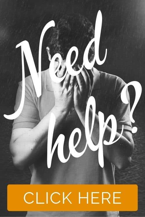 Photo: depressed man. Text Need help? Click here.