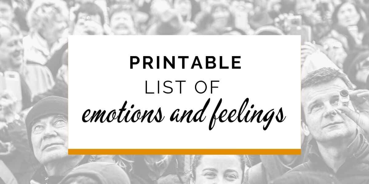 Banner: Printable list of emotions and feelings