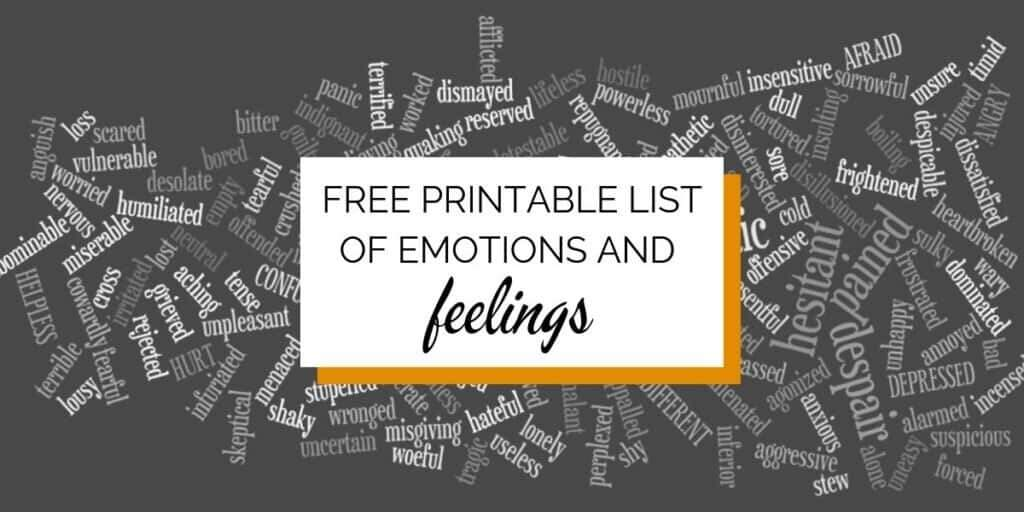 Banner: Background photo: all manor feeling words. Text: Free Printable List of Emotions and Feelings