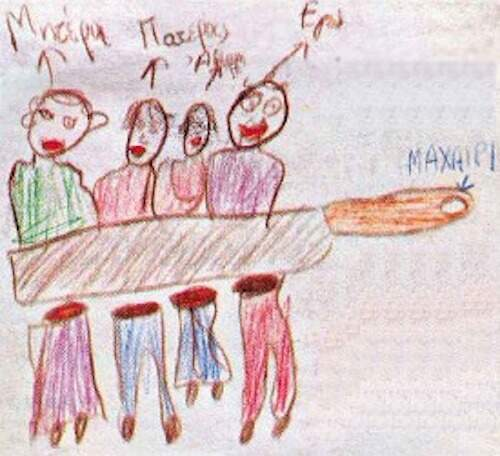 Child's drawing of a family breakup