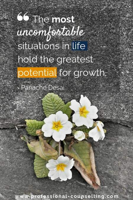 Photo: plant growing between stones.  Text: 'The most uncomfortable situations in life hold the greatest potential for growth.' Panache Desai