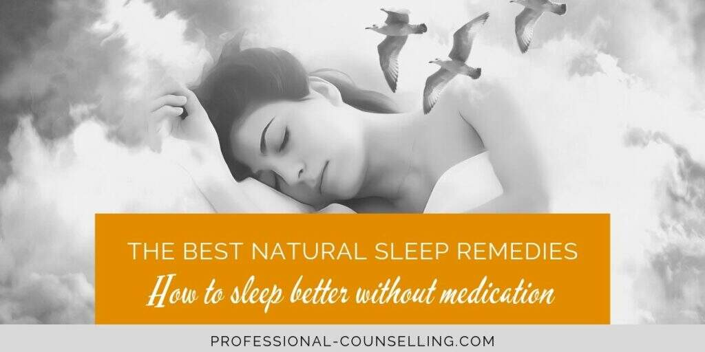Photo: Woman fast asleep surrounded by fluffy clouds. Text: The best natural sleep remedies. How to sleep better without medication.