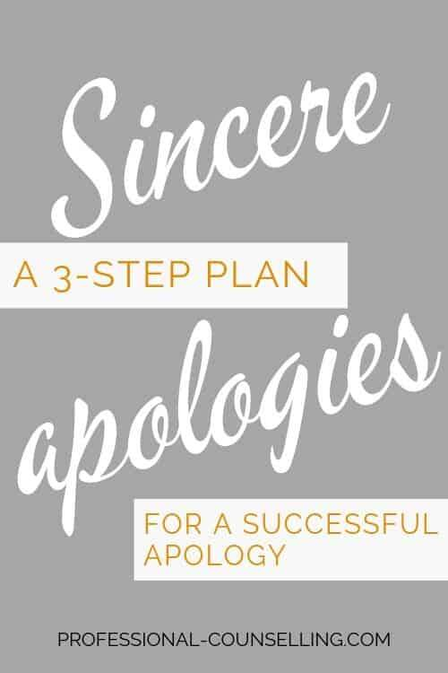 Vertical banner. Sincere apologies A 3-step plan for a successful apology