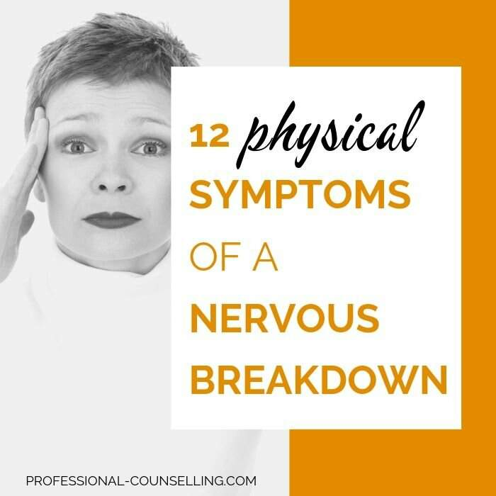 Photo: woman looking as if she doesn't know what to do anymore. Text: 12 physical symptoms of a nervous breakdown