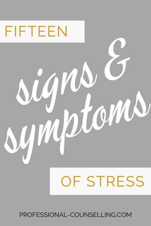 Banner: Fifteen signs and symptoms of stress