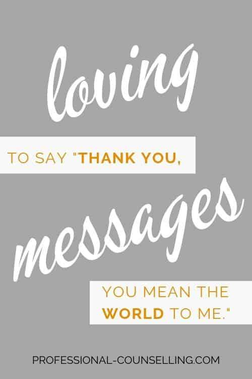 "Vertical banner: loving messages - to say ""thank you, you mean the world to me."""
