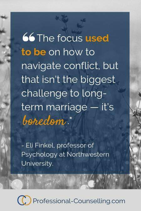 The focus used to be on how to navigate conflict, but that isn't the biggest challenge to long-term marriage — it's boredom. -Eli Finkel, professor of psychology at Northwestern university