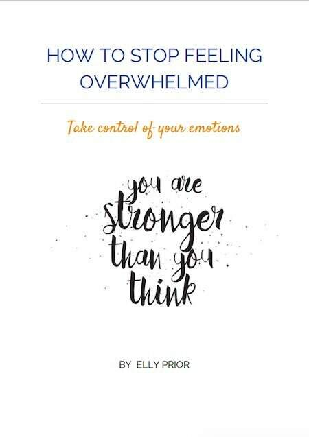 Front of worksheet. Text: How to stop feeling overwhelmed. Take control of your emotions.